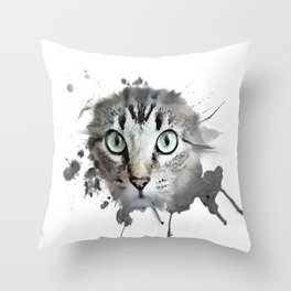 Cat Eyes Watercolor Throw Pillow