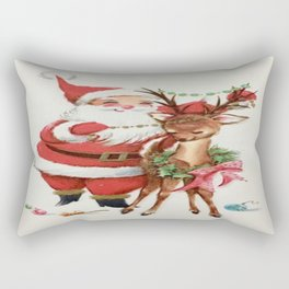 Santa and reindeer Rectangular Pillow