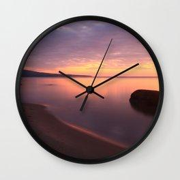 Fiery Sunset over the Porkies Wall Clock