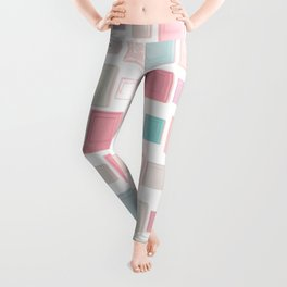 Abstract Pink Pattern Frames Leggings