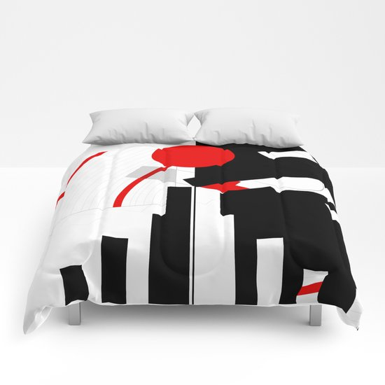 black and white meets red Version 16 Comforters