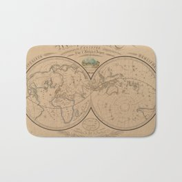 Vintage Map of The World (1839) Bath Mat