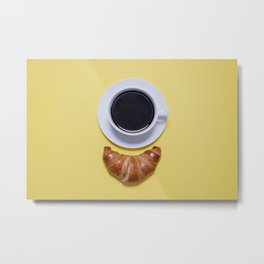 Coffee and Croissant Metal Print