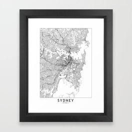 Sydney White Map Framed Art Print