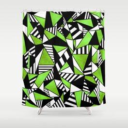 Geometric Green Shower Curtain