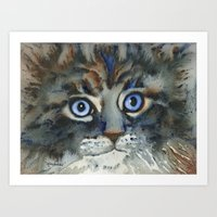 tim shumate Art Prints featuring Tim by Cat Art by Lori Alexander