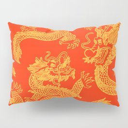 Red and Gold Battling Dragons Pillow Sham