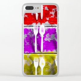 fork and spoon with splash painting texture abstract background in pink red yellow Clear iPhone Case