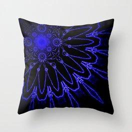 The Modern Flower : Blue Electricity Throw Pillow
