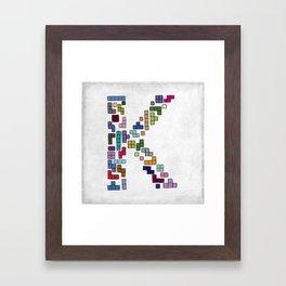 letter k - gaming blocks Framed Art Print