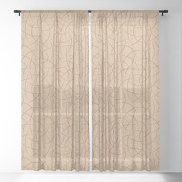 Cavern Clay SW 7701 Abstract Crescent Shape Pattern on Ligonier Tan SW 7717 Sheer Curtain
