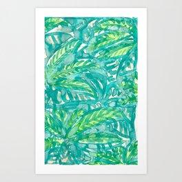 Turquoise & Lime Leaves Art Print