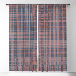 Fine Weave Modern Retro Mid-Century Pattern in Coral Pink and Blue Blackout Curtain
