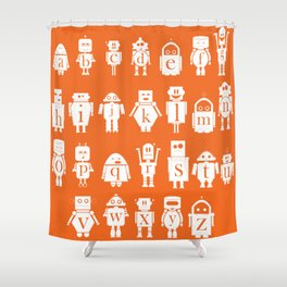 Robot Alphabets in Tangerine Shower Curtain