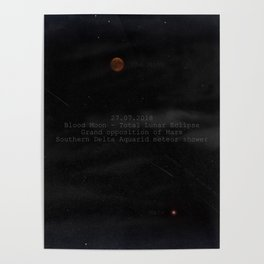 Blood Moon - Total Lunar Eclipse, Grand opposition of Mars, Southern Delta Aquarid meteor shower Poster