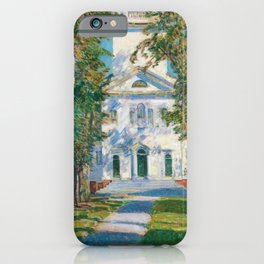 Classical Masterpiece 'The Church in Gloucester, Massachusetts' by Frederick Childe Hassam iPhone Case
