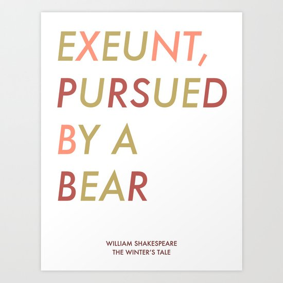 Shakespeare - The Winter's Tale - Exeunt Exit Pursued by a Bear Art Print