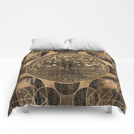 Tree of life - Yggdrasil - Wood and Gold Comforters