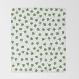 Light Green Clover Throw Blanket