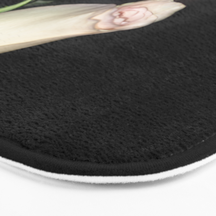 The Black Square and a White Rose Bath Mat