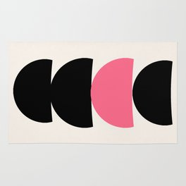 Crescents (Black and Pink) Rug