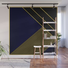 Blue and Gold Geometric Pattern Wall Mural