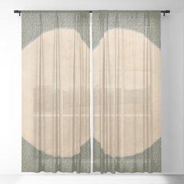 Vermont Moon Minimalism Moss Green Beige Sheer Curtain