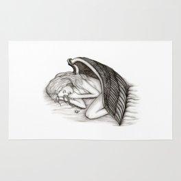 A sleeping Angel , Black and white Design Rug