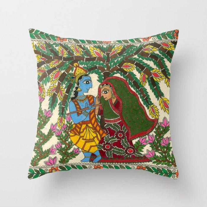Radha Krishna Madhubani Throw Pillow