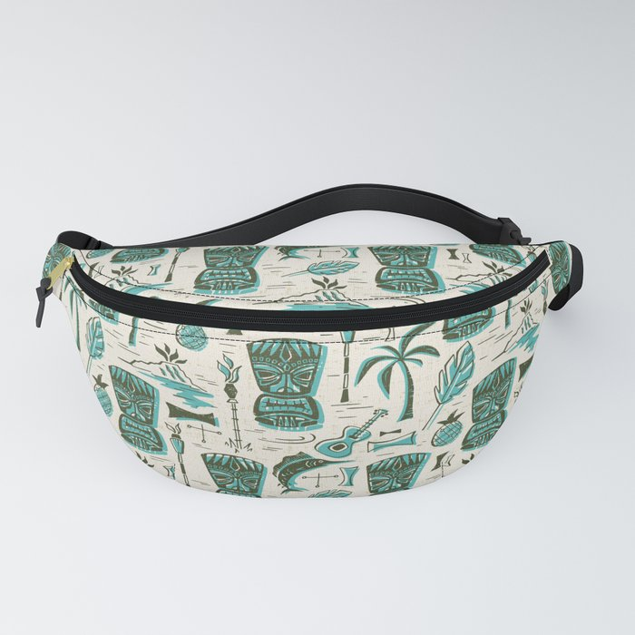 Tropical Tiki - Cream & Aqua Fanny Pack