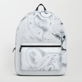 Snow Leopard Fine art Drawing Backpack