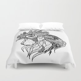 ROOSTER head. psychedelic / zentangle style Duvet Cover