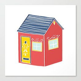 Little Red Scandinavian House Canvas Print
