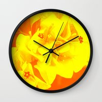 ali gulec Wall Clocks featuring Ali orange by Keren Shiker