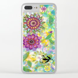 Summer Soft Floral Clear iPhone Case
