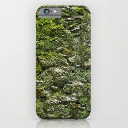 Green wall covered with moss and little plants iPhone Case