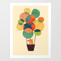 hot air balloon Art Prints featuring Whimsical Hot Air Balloon by Picomodi