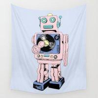 dj Wall Tapestries featuring DJ Bot by Saoirse Mc Dermott