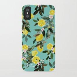 Summer Lemon Floral iPhone Case