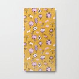 midsummer retro floral mustard Metal Print