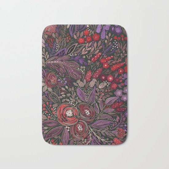 Watercolor floral illustration Bath Mat