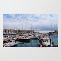 greece Area & Throw Rugs featuring Piraeus, Greece by Scenic Sights by Tara