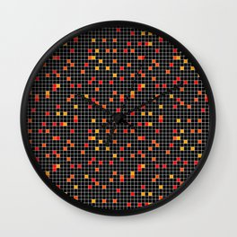 Mosaic Pixel Black Red Yellow Pattern Wall Clock