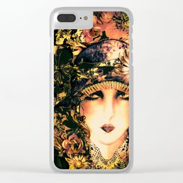 ART DECO FLAPPER COLLAGE POSTER PRINT, ROSES, BIRDS BUTTERFLIES ,LADY Clear iPhone Case