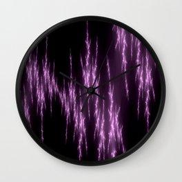 Purple Lightening Fractal Art Wall Clock