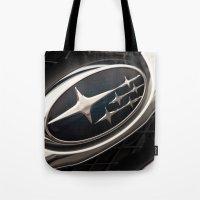 subaru Tote Bags featuring Subaru Logo by SShaw Photographic