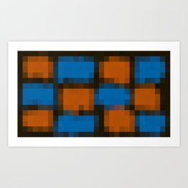 orange blue and black pixel background Art Print