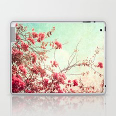 Pink Flowers on a Textured Blue Sky (Vintage Flower Photography) Laptop & iPad Skin