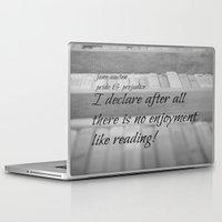 jane austen Laptop & iPad Skins featuring Jane Austen Reading by KimberosePhotography
