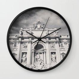 Trevi Fountain, black & white photography of Rome, fine art architecture, italian architectural love Wall Clock